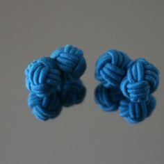 Bouton de manchette passementerie Bleu louis XIV
