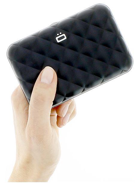Porte Carte Aluminium Black Quilted Button Ogon Designs Cravate - Porte carte aluminium