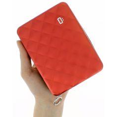 Portefeuille alu rouge matelassé, format passeport, Ogon designs