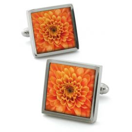 Bouton de manchette Robert Charles Chrysanthemum Orange