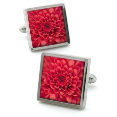 Bouton de manchette Robert Charles Chrysanthemum rouge