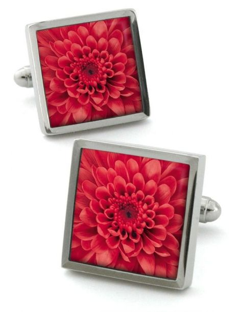 Bouton de manchette Robert Charles Chrysanthemum rouge Robert Charles Bouton de manchette
