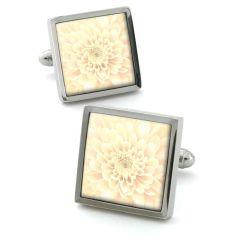 Bouton de manchette Robert Charles Chrysanthemum ivoire