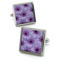 Boutons de manchette, Gerbera lilas