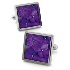 Bouton de manchette Robert Charles Hydrangea violet