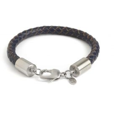 Bracelet cuir tressé marine, platine plaqué brossé, Simon Carter