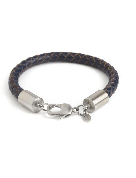 Bracelet cuir tressé marine, platine plaqué brossé, Simon Carter Simon Carter Bracelets Homme