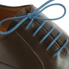 lacets ronds coton ciré couleur bleu artic