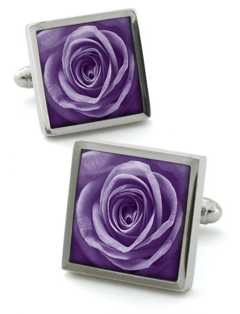 Boutons de manchette, Rose unique violet Robert Charles Bouton de manchette