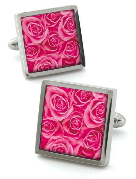 Bouton de manchette Robert Charles Rose rose