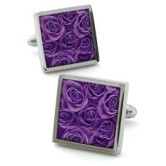 Bouton de manchette Robert Charles Rose violet