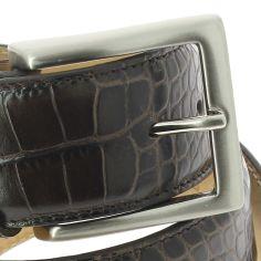 Ceinture cuir, Lézard, couleur marron foncé