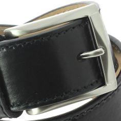 Ceinture cuir, pour Jeans, bords épais, Noir