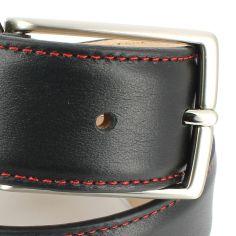 Ceinture cuir, Vitello, couleur noir, avec surpiqure rouge