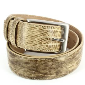 Ceinture cuir, Serpent beige, 35mm bords surpiqués Robert Charles Ceintures