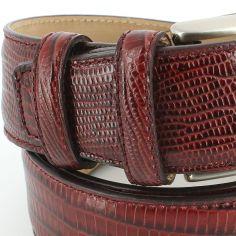 Ceinture cuir, Serpent bordeaux, 35mm bords surpiqués