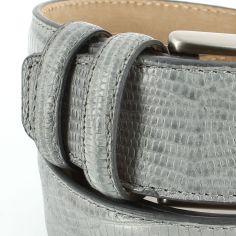 Ceinture cuir, Serpent gris, 35mm bords surpiqués