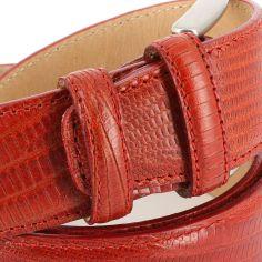 Ceinture cuir, Serpent rouge, 35mm bords surpiqués