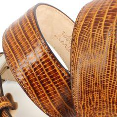 Ceinture cuir, Serpent tan, 35mm bords surpiqués