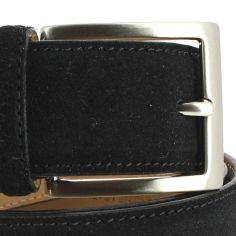 Ceinture cuir, Daim noir, 35mm bords surpiqués