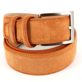 Ceinture cuir, Daim orange, 35mm bords surpiqués