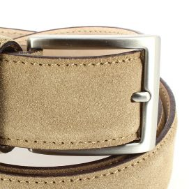 Ceinture cuir, Daim tan, 35mm bords surpiqués