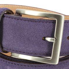 Ceinture cuir, Daim violet, 35mm bords surpiqués