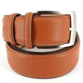 Ceinture cuir, bords surpiqués 40mm, Tan