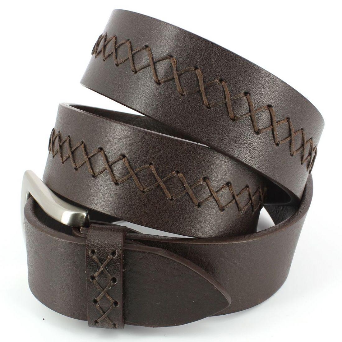 ceinture cuir buffalo split 35mm marron cravate. Black Bedroom Furniture Sets. Home Design Ideas