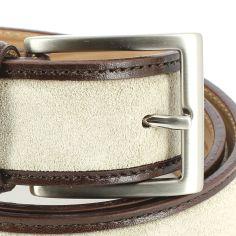 Ceinture cuir, Cuir et Daim beige, 35mm bords surpiqués