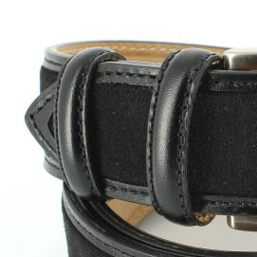 Ceinture cuir, Cuir et Daim noir, 35mm bords surpiqués