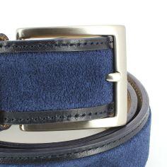 Ceinture cuir, Cuir et Daim bleu, 35mm bords surpiqués