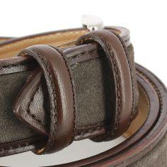 Ceinture cuir, Cuir et Daim marron, 35mm bords surpiqués