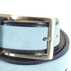 Ceinture cuir, Cuir et Daim bleu glace, 35mm bords surpiqués