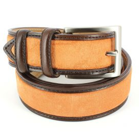 Ceinture cuir, Cuir et Daim orange, 35mm bords surpiqués