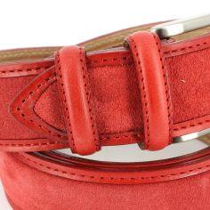 Ceinture cuir, Cuir et Daim rouge, 35mm bords surpiqués