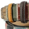 Ceinture cuir, Patchwork Lézard 35mm, Marron bords surpiqués Robert Charles Ceintures