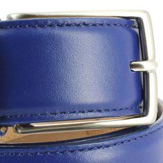 Ceinture cuir de veau, bleu, 35mm, bords surpiqués