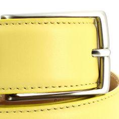 Ceinture cuir de veau, jaune, 35mm, bords surpiqués