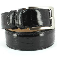 Ceinture cuir, Croco, 35mm, Noir, bords surpiqués