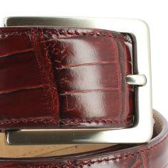 Ceinture cuir, Croco, 35mm, Bordeaux, bords surpiqués