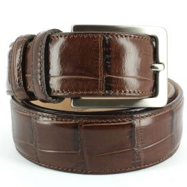 Ceinture cuir, Croco, 35mm, Marron, bords surpiqués