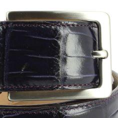 Ceinture cuir, Croco, 35mm, Violet, bords surpiqués