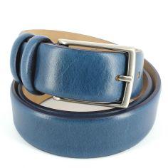 Ceinture cuir, bleu, 35mm