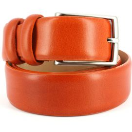 Ceinture cuir, orange, 35mm