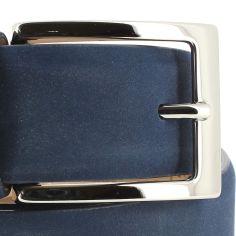 Ceinture cuir, Nubuck bleu, 35mm