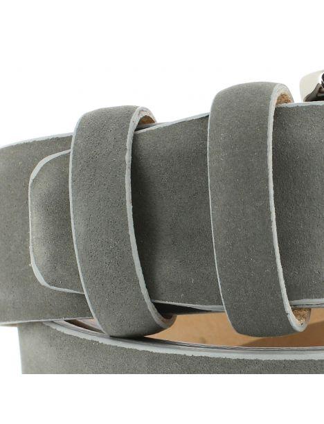 Ceinture cuir, Nubuck gris, 35mm