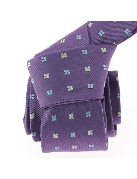 Cravate CLJ, violet, motifs fleurs Clj Charles Le Jeune Cravates