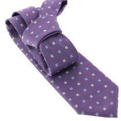 Cravate CLJ, violet, motifs fleurs