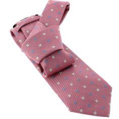 Cravate CLJ, rose, motifs fleurs